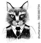 serious business cat   Shutterstock . vector #580380754