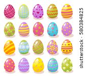 set of color easter eggs with... | Shutterstock .eps vector #580384825