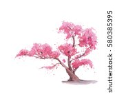 cherry blossom tree. watercolor ... | Shutterstock . vector #580385395