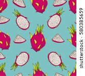 seamless vector pattern. exotic ... | Shutterstock .eps vector #580385659