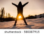 the silhouette of a young boy... | Shutterstock . vector #580387915