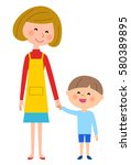mother and boy | Shutterstock .eps vector #580389895