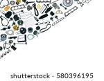 auto spare parts car on the... | Shutterstock . vector #580396195