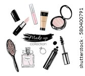 beauty make up set. hand drawn... | Shutterstock .eps vector #580400791