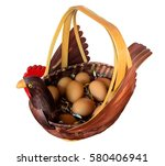 the hen is made from bamboo... | Shutterstock . vector #580406941