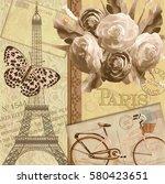 paris vintage postcard. | Shutterstock .eps vector #580423651