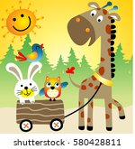 giraffe pull rabbit and owl... | Shutterstock .eps vector #580428811