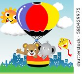 bear and elephant surround the... | Shutterstock .eps vector #580429975