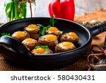 Mushrooms With Quail Eggs....