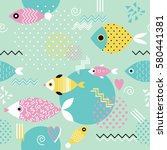 pattern with geometric fish in... | Shutterstock .eps vector #580441381