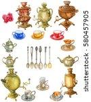 watercolor isolated set tea... | Shutterstock . vector #580457905