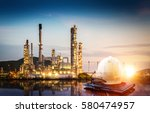 oil refinery and meeting of... | Shutterstock . vector #580474957