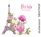 eiffel tower with spring... | Shutterstock . vector #580479439