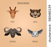 low poly african animals set.... | Shutterstock .eps vector #580480159
