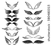angel wings set hand drawn... | Shutterstock .eps vector #580480315