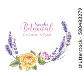 vintage garland of blooming... | Shutterstock . vector #580483279