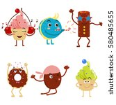 smiling muffins or cupcakes... | Shutterstock .eps vector #580485655
