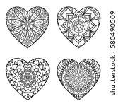 doodle hearts set. outline...   Shutterstock .eps vector #580490509
