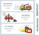 car service banner set  flat... | Shutterstock .eps vector #580495417