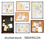 sticker notes pined on board...   Shutterstock .eps vector #580496134