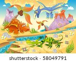 monsters dinosaurs with... | Shutterstock .eps vector #58049791