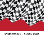 checkered flag flying on red... | Shutterstock .eps vector #580511005