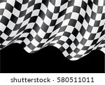 checkered flag flying on black... | Shutterstock .eps vector #580511011