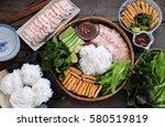 delicious vietnamese food  bun... | Shutterstock . vector #580519819