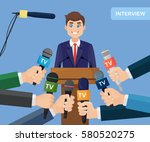 public speaker and hands of... | Shutterstock .eps vector #580520275