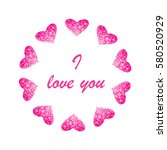 abstract background with hearts.... | Shutterstock .eps vector #580520929