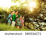group of young friends standing ... | Shutterstock . vector #580536271