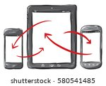 mobile phone and tablet... | Shutterstock .eps vector #580541485