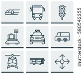 set of 9 delivery icons.... | Shutterstock . vector #580542355