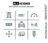 set of 9 transportation icons.... | Shutterstock . vector #580545907