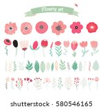 floral vector elements. set of... | Shutterstock .eps vector #580546165