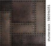 dark rusty metal plates with... | Shutterstock . vector #580546351