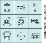 set of 9 transportation icons.... | Shutterstock . vector #580550059