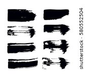 set of black paint  ink  grunge ... | Shutterstock .eps vector #580552504