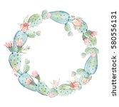 elegant watercolor flowers... | Shutterstock . vector #580556131