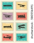 vintage stamps set with... | Shutterstock .eps vector #580556491
