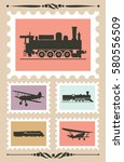 vintage stamps set with... | Shutterstock .eps vector #580556509