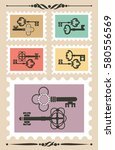 set of stamps with vintage key. ... | Shutterstock .eps vector #580556569