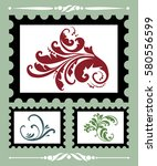 stamps set with monogram.... | Shutterstock .eps vector #580556599