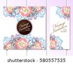 vintage delicate invitation... | Shutterstock . vector #580557535