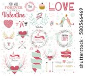 valentines day calligraphic... | Shutterstock .eps vector #580566469