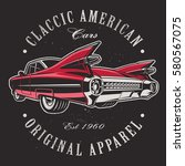 classic american car on black... | Shutterstock .eps vector #580567075