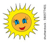 vector sun cartoon | Shutterstock .eps vector #580577401
