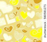 vector romantic seamless... | Shutterstock .eps vector #580581271