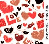 seamless vector heart pattern ... | Shutterstock .eps vector #580585489
