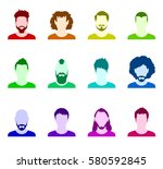 colored silhouettes of avatar... | Shutterstock . vector #580592845